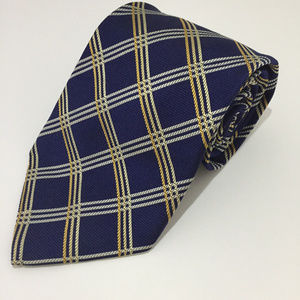 Brooks Brothers Makers Blue, Gold 100% Silk Tie